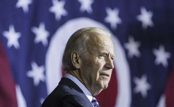 Vice President Joe Biden seen here on the campaign trail for Democratic presidential candidate Hillary Clinton in Dayton, Ohio in October.