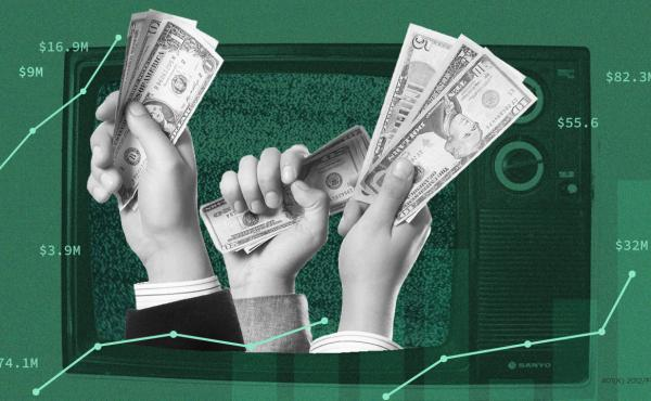 Money spent on TV advertising shows the presidential race focusing on six states — Florida, Pennsylvania, North Carolina, Michigan, Wisconsin and Arizona.