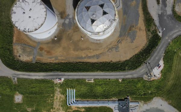 Fuel holding tanks are pictured at Colonial Pipeline's Dorsey Junction Station in Woodbine, Maryland in May 2021, the month that a cyberattack disrupted gas supply to the eastern U.S. for several days.