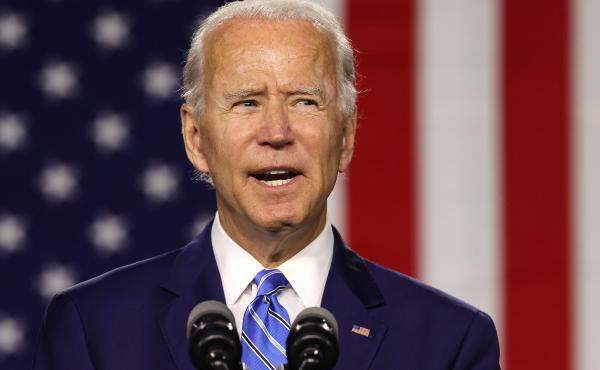 Presumptive Democratic nominee Joe Biden speaks Tuesday at the Chase Center in Wilmington, Del.