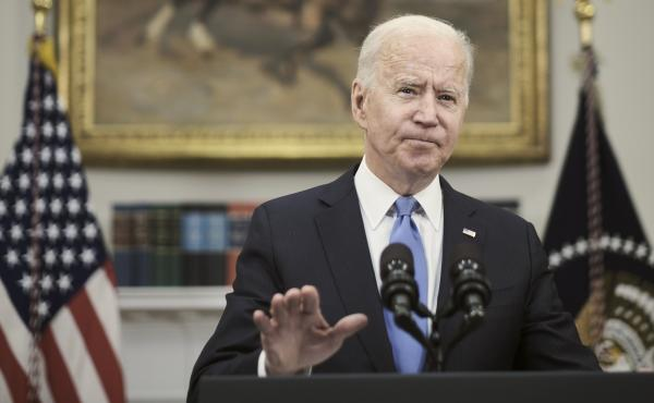 President Biden answers a question about the conflict between Israel and Hamas militants on Thursday after delivering remarks at the White House on the Colonial Pipeline incident. His public comments on the situation in the Middle East have been limited w