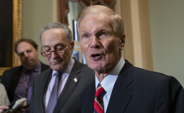 Then-Sen. Bill Nelson, D-Fla., with Sen. Chuck Schumer at the U.S. Capitol in 2018. Nelson has been chosen to lead NASA.