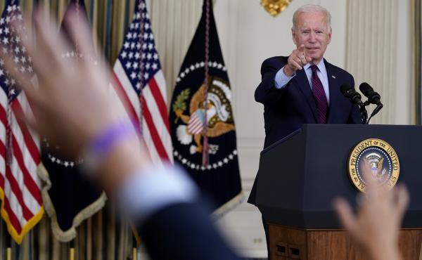 President Biden takes questions after delivering remarks on the debt ceiling at the White House on Monday.