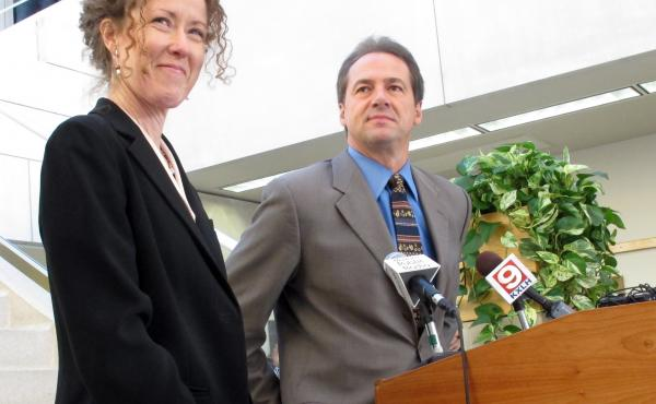 Tracy Stone-Manning (left) was named in 2012 by Gov.-elect Steve Bullock to run the Montana Department of Environmental Quality, in Helena, Mont. Stone-Manning has been nominated by President Joe Biden to lead an agency that oversees about a quarter-billi