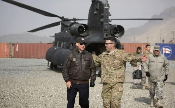 Joe Biden visits U.S. troops in Kabul, Afghanistan, in 2011 when he was vice president. Biden has been highly critical of President Trump's foreign policy and says he'll work to improve frayed relations with many traditional U.S. partners.