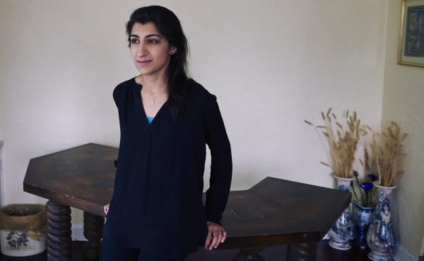 Lina Khan, here at her home in Larchmont, N.Y., in 2017, has been nominated to the Federal Trade Commission.