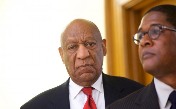 Bill Cosby reacts to the verdict in his sexual assault retrial in April, at the Montgomery County courthouse in Norristown, Pa. A jury convicted The Cosby Show star of three counts of aggravated indecent assault.