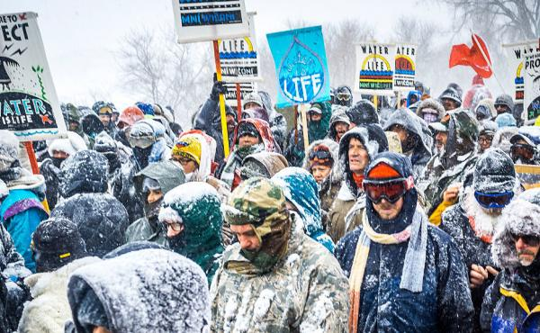 Protesters opposing the proposed Dakota Access Pipeline at the Oceti Sakowin Camp in North Dakota. Lawmakers in the state have proposed bills that would increase penalties for protesters who block highways.
