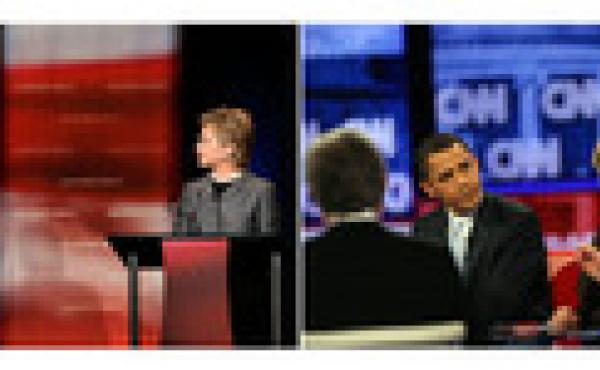 (Left) Obama answers a question as Clinton watches during the first debate of the 2008 presidential campaign on April 26, 2007, in Orangeburg, S.C. (Right) Obama and Clinton participate in a debate in Los Angeles on Jan. 31, 2008.