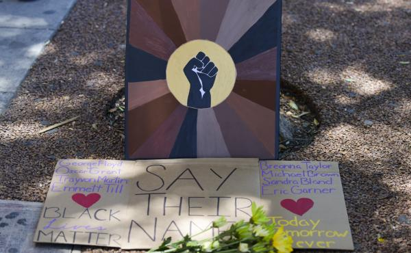 A makeshift memorial at the All Black Lives Matter Solidarity March on June 14, in Los Angeles.