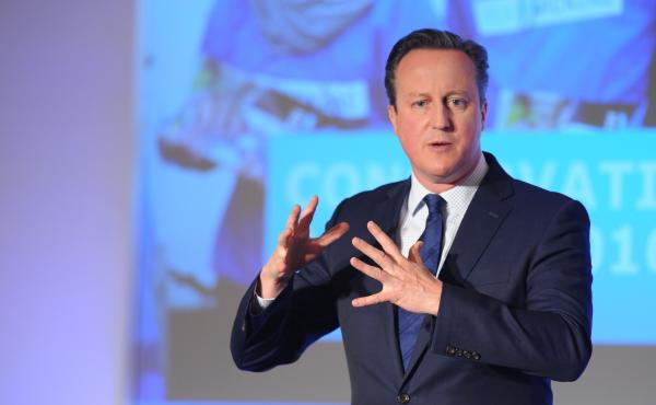 British Prime Minister David Cameron speaking during the Conservative Party Spring Forum on Saturday in London.