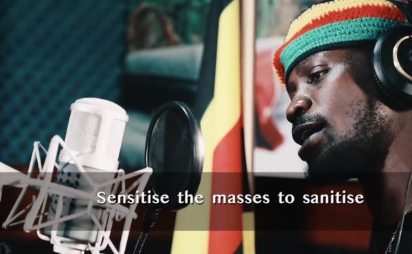 Still from a public safety video released by Bobi Wine, a Ugandan musician and politician.