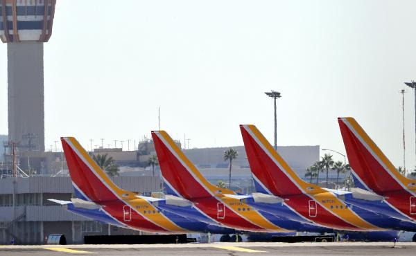 Boeing 737 Max jets are grounded at Sky Harbor International Airport in Phoenix on March 14.
