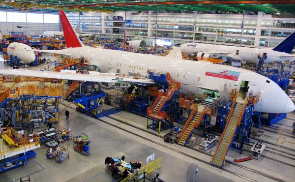Workers assemble Boeing 787s at the company's plant in North Charleston, S.C., in 2015. Results of a vote released Wednesday show workers have rejected union representation.