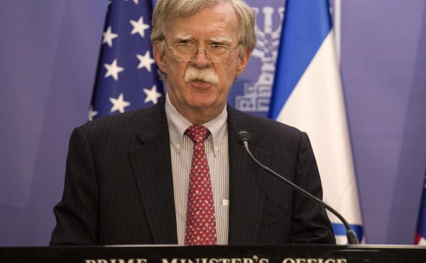 U.S. National Security Advisor John Bolton speaks to the media in Jerusalem Sunday.