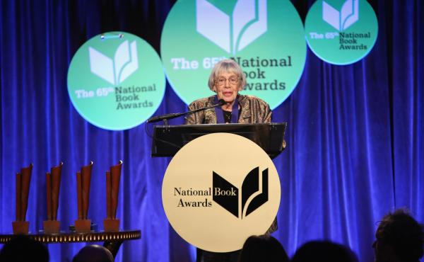 """In her speech Wednesday night in New York, Ursula K. Le Guin declared, """"The name of our beautiful reward is not profit. Its name is freedom."""""""