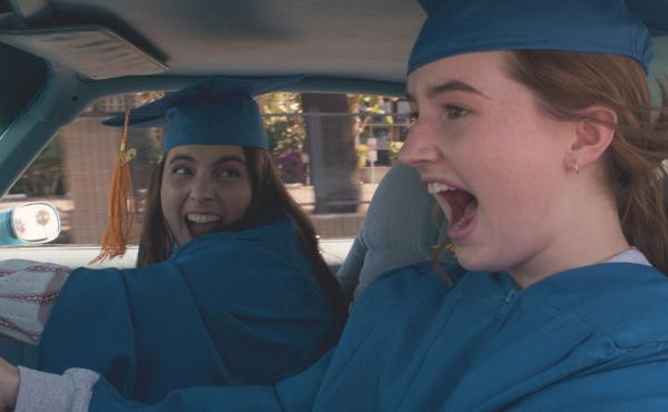 Beanie Feldstein, left, and Kaitlyn Dever, play Molly and Amy, two star students who decide they need to cram four years of high school partying into one night in Booksmart.