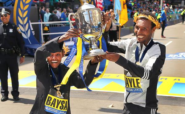 Boston Marathon women's winner Atsede Baysa and men's winner Lemi Berhanu Hayle, led a dominant group of Ethiopian runners in Monday's race.