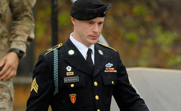 Army Sgt. Bowe Bergdahl leaves a military courthouse Tuesday in Fort Bragg, N.C. Bergdahl was arraigned on charges of desertion and endangering troops stemming from his decision to leave his outpost in Afghanistan in 2009.