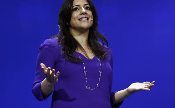 Reshma Saujani, founder and chief executive officer of Girls Who Code Inc., speaks during the International Business Machines Corp. (IBM) InterConnect 2017 conference in Las Vegas, Nevada, on March 21, 2017. IBM
