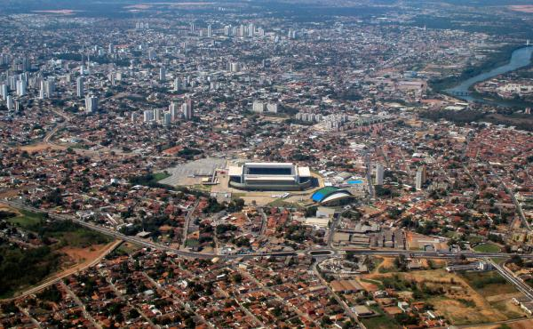 The Arena Pantanal stadium in Cuiaba (shown here in June 2014) cost $215 million to build. It has been in the news recently, thanks to the homeless people who've made it their home.