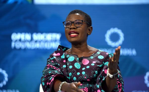 """Yvonne Aki-Sawyerr, the new mayor of Freetown in Sierra Leone, speaks at the 2018 Concordia Annual Summit in New York City. """"For decades, there had been no structure, no focused thinking of a strategy for the city,"""" she says. """"The way my brain works is wi"""