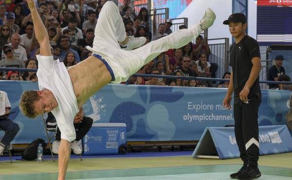 Paris Olympics organizers want breakdancing to be part of the 2024 Olympics. The sport was part of the Youth Olympic Games in Buenos Aires last fall, when Russian b-boy Bumblebee (left) defeated Japan's b-boy Shigekix in the gold-medal battle.
