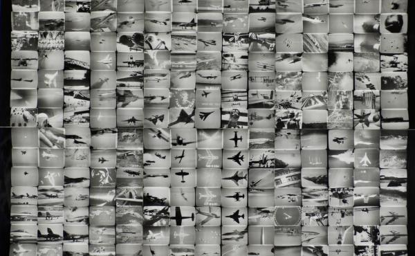 """An exhibition at The Getty Center in Los Angeles features some 200 works of news-inspired art, dating back to the 1960s. Above, The Air Power of the World from Masao Mochizuki's 1976 """"Television"""" series."""