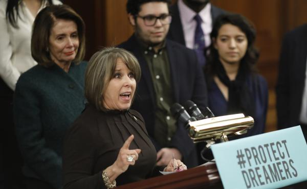 Rep. Michelle Lujan Grisham, D-N.M., speaks at a news conference calling for the passage of the Dream Act in January, along with House Democratic leader Nancy Pelosi. Lujan Grisham is one of five Democratic lawmakers, along with nine Republicans, receivin