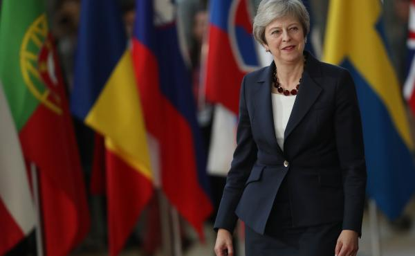British Prime Minister Theresa May arrives to meet with EU leaders on Wednesday in Brussels.
