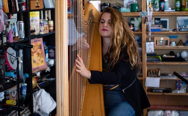 Bridget Kibbey performs during a Tiny Desk concert, on Oct. 24, 2019. (Catie Dull/NPR)
