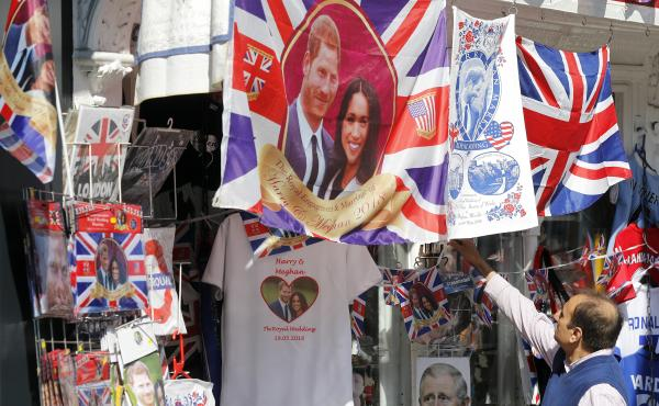 A souvenir shop in Windsor, England, sells wedding-themed T-shirts and other memorabilia ahead of Saturday's royal wedding.
