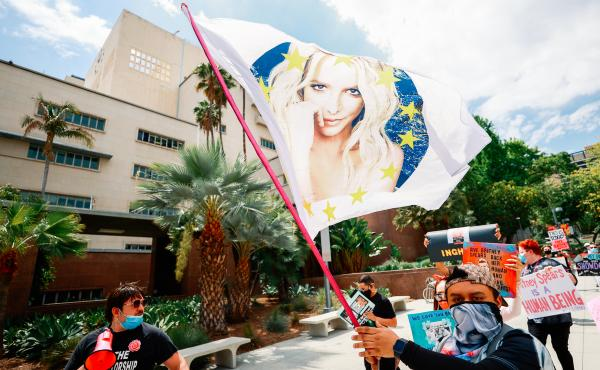 #FreeBritney activists protest outside the courthouse in Los Angeles during a conservatorship hearing on April 27.