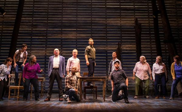 Come From Away, whose cast is pictured here, is one of many musicals competing for attention in Broadway's current surge of openings.