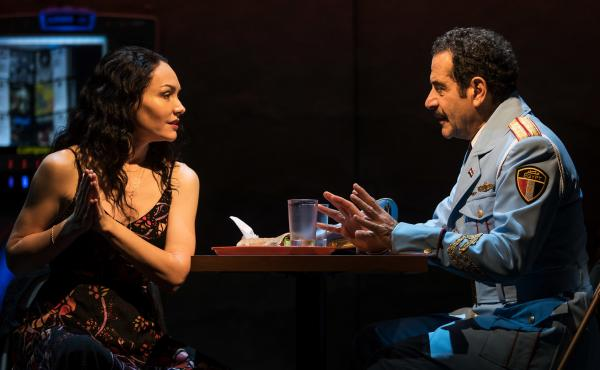 Katrina Lenk's and Tony Shalhoub's characters have an almost-romance in The Band's Visit.