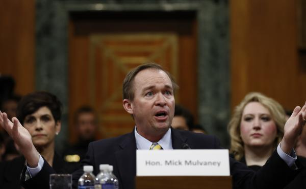 Budget director nominee Rep. Mick Mulvaney, R-S.C., testifies on Capitol Hill on Tuesday.