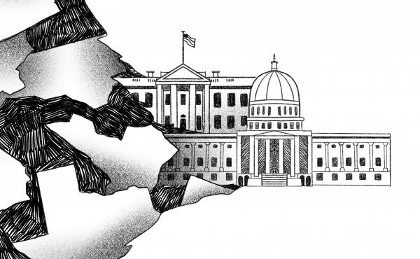 Illustration of states morphing into the U.S. Capitol and White House.