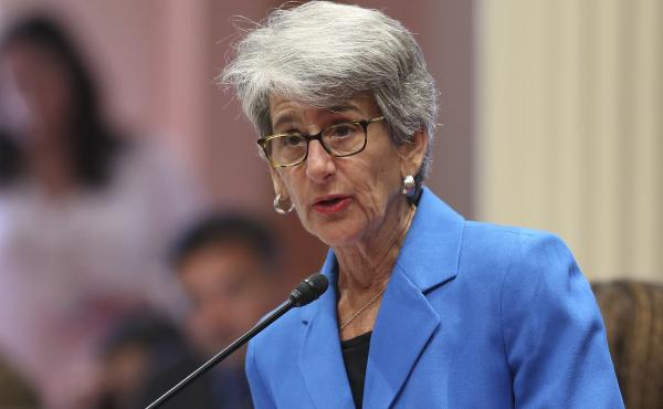 State Sen. Hannah-Beth Jackson addressed the California state Senate in August on a measure requiring at least one female director on corporate boards of publicly traded companies based in the state. On Sunday, Gov. Jerry Brown signed Jackson's bill.