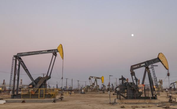 A fracking site in Kern County, Calif. Fracking — short for hydraulic fracturing — is the process of extracting oil deep underground using a high-pressure water mixture to break up rock.