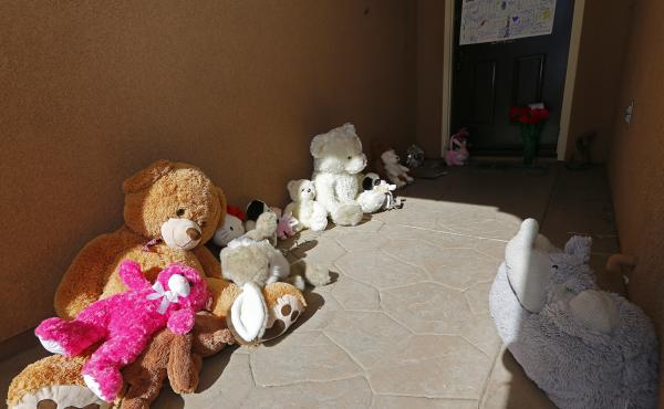 Toys left by neighbors for the Turpin's children sit on the front of the home of David and Louise Turpin in Perris, Calif., on Jan. 24, 2018. The Turpins are accused of abusing their 13 children, ranging from 2 to 29, before they were rescued on Jan. 14 f