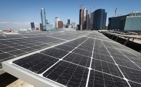 Solar panels are mounted on the roof of the Los Angeles Convention Center on September 5. The state's governor has signed a landmark bill setting a goal of 100 percent clean energy for the state's electrical needs, by the year 2045.