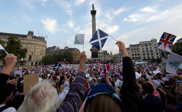 "People gather in London's Trafalgar Square on Monday for a rally urging Scotland to stay with the U.K. Polls are showing that the ""yes"" and ""no"" camps are neck and neck."