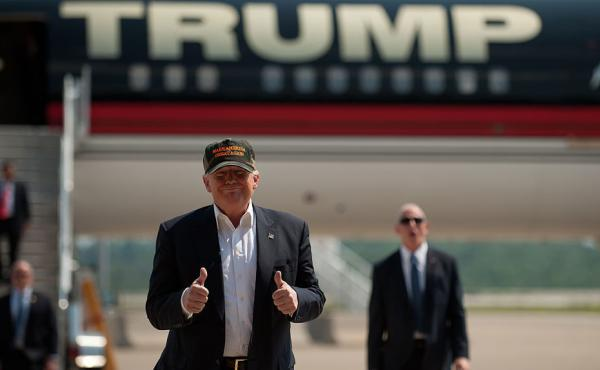 Donald Trump arrives to speak to supporters at a rally at Atlantic Aviation on June 11 in Moon Township, Pennsylvania.