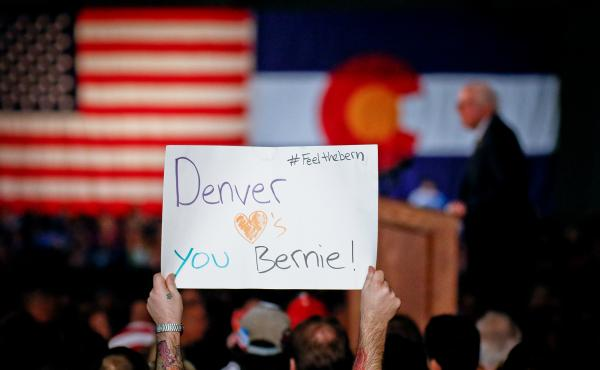 """I believe that health care is a right, not a privilege,"" Sen. Bernie Sanders told Denver supporters in February. ColoradoCare supporters hope to leverage his charisma for a win on their state amendment."