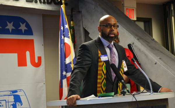 Brian Barnes, co-director of African American Initiatives for the Ohio Republican Party, speaks at a Martin Luther King Jr. Day celebration in Cleveland.