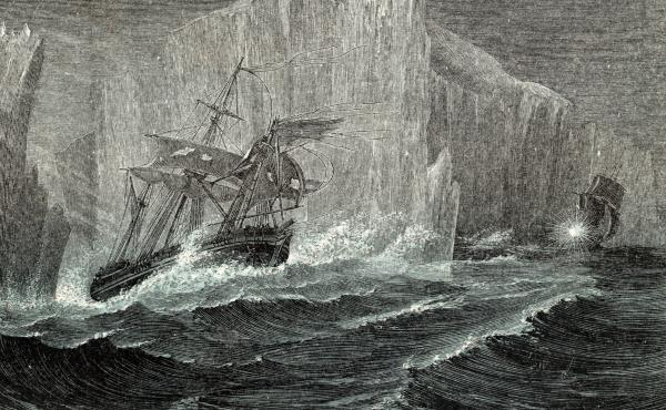 The Erebus and the Terror among icebergs, as illustrated in The Polar World by G. Hartwig in 1874. Sir John Franklin, British naval officer and arctic explorer, commanded the 1845 expedition of the ships to search for the Northwest Passage. All members of
