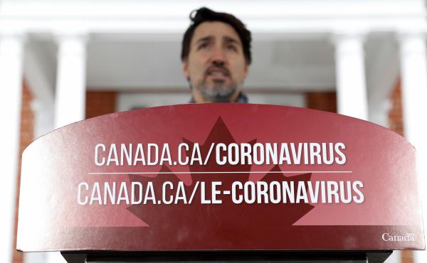 Canada's Prime Minister Justin Trudeau attends a news conference to discuss efforts to slow the spread of the coronavirus, in Ottawa, Ontario, on Monday.