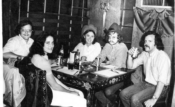 Joe Palca (left) with Jim Allison (second from right) and friends, circa 1975. Allison has gone on to make landmark discoveries in science, and is still passionate about outlaw country music.