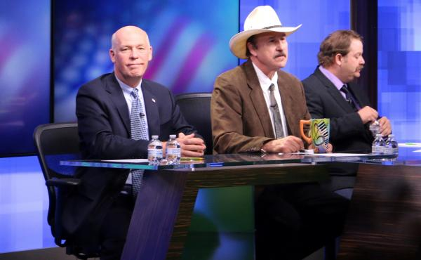 The three candidates, from left, Republican Greg Gianforte, Democrat Rob Quist and Libertarian Mark Wicks, who are vying to fill Montana's only congressional seat.