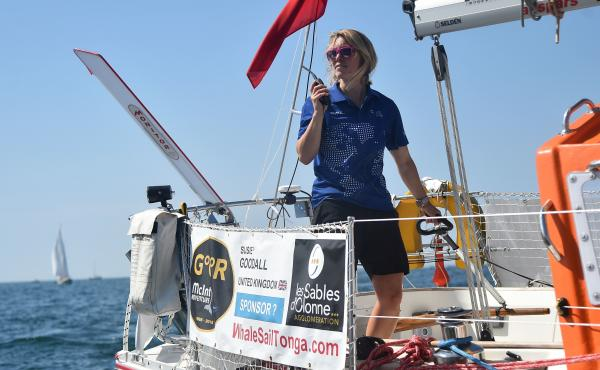 Susie Goodall on her boat DHL Starlight on July 1 at the start of the solo around-the-world Golden Globe Race.